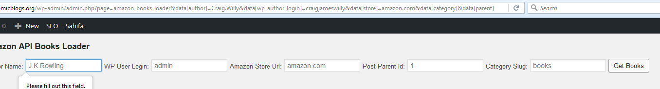 call to amazon should fill params into gui